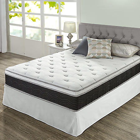 "Zinus Night Therapy 12"" iCoil Premium  Firm California King Mattress and SmartBase Set"