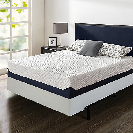"""Zinus Night Therapy 12"""" Breathable Cooling Memory Foam King Mattress and BiFold Box Spring Set"""