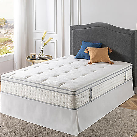 "Zinus Night Therapy iCoil 12"" Euro Boxtop Spring Mattress and SmartBase Bed Frame Set, King"