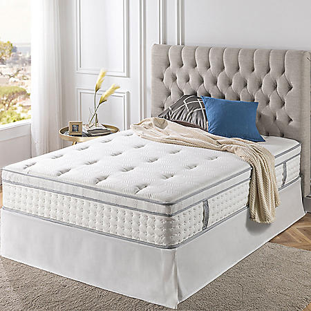 "Zinus Night Therapy iCoil 13"" Deluxe Euro Box Top Spring Mattress and SmartBase Bed Frame Set, Full"