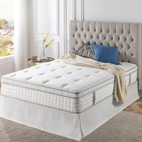 "Night Therapy iCoil 13"" Deluxe Euro Box Top Spring Mattress and SmartBase Bed Frame Set, Full"