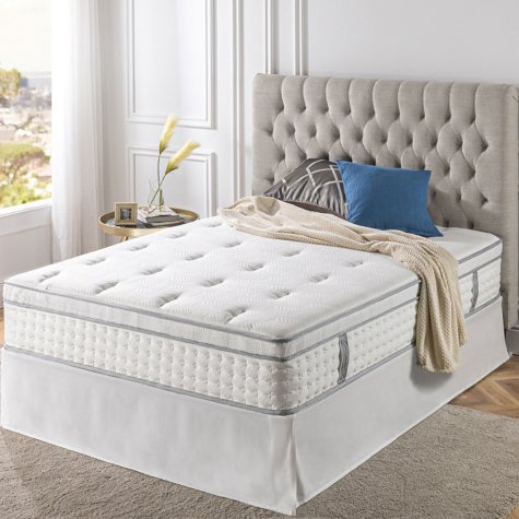 "Zinus Night Therapy iCoil 13"" Deluxe EuroBox Top Spring California King Mattress and SmartBase Bed Frame Set"