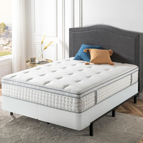 "Zinus Night Therapy iCoil 12"" Euro Boxtop Spring Mattress and Bi-Fold Box Spring Set, Twin"