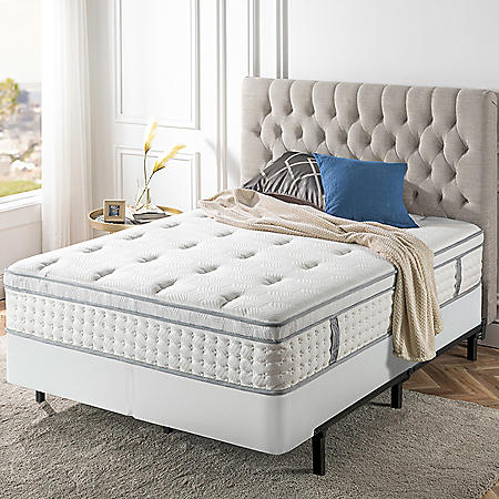 "Zinus Night Therapy iCoil 13"" Euro Boxtop Spring Queen Mattress and Bi-Fold Box Spring Set"