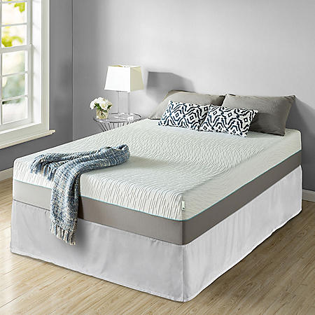 "Zinus Night Therapy Memory Foam 13"" Pressure Relief Queen Mattress and SmartBase Set"