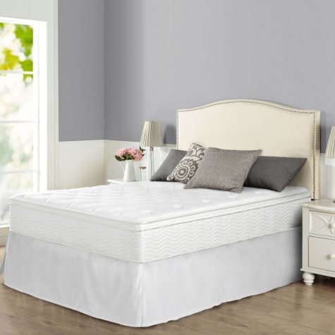 """Night Therapy iCoil 12"""" Euro Boxtop Spring Mattress and SmartBase Bed Frame Set, Queen"""
