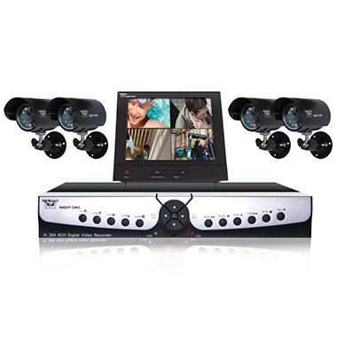 Night Owl 4 Channel H.264, 500GB Hard Drive Security System with 4 x 30' Outdoor Night Vision cameras and 8