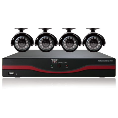 Night Owl LTE-84500 Security System with 8 Channel 500GB DVR and 4 x 420TVL Surveillance Cameras with 30' Night Vision