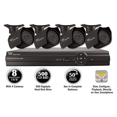 Night Owl 8 Channel Full D1 Security System with 500GB Hard Drive, 4 420TVL Cameras, and 50' Night Vision