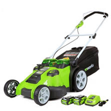 GreenWorks G-MAX 40V Li-Ion Twin Force Lawn Mower, Dual Blade