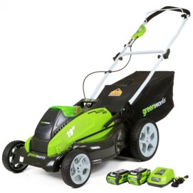 """GreenWorks G-MAX 40V 19"""" Cordless Lawn Mower w/ 2 Batteries and a Charger"""