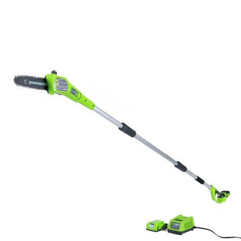 "GreenWorks 24V  8"" Cordless Pole Saw with 2AH Battery and Charger Inc."