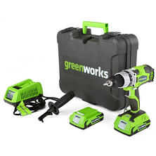 GreenWorks 24V Cordless DigiPro 2 Speed Compact Drill, (2) 2Ah Batteries, Charger