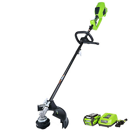 """GreenWorks G-MAX 40V Digipro 14"""" String Trimmer with 4AH Battery and Charger Included - Attachment Capable"""