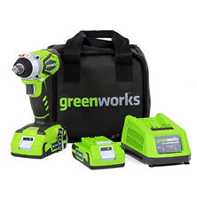 GreenWorks G-24 Cordless Impact Wrench, (2) 2.0 ah batteries & charger
