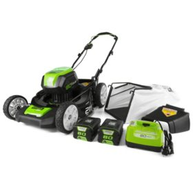 """Greenworks Pro 21"""" 80V Cordless Lawn Mower (Two 2.0 AH Batteries Included)"""