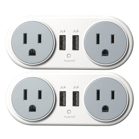 Atomi Plate Power Mini Swivel Wall Outlet (2 Pack)