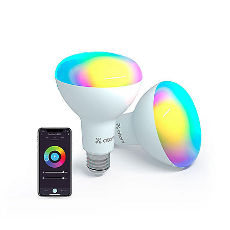 Atomi Smart Wi-Fi Smart Color LED BR30 Bulb (2 Pack)