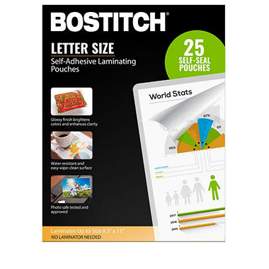 Bostitch Self Adhesive Laminating Pouches 85 In X 11