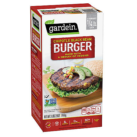 Gardein Chipotle Black Bean Burger Patties, Frozen (12 pack, 3.1 lbs.)