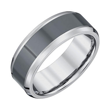 Men's 8mm Tungsten and Black Ceramic Wedding Band