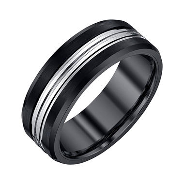 Men's 8mm Black and Grey Tungsten Band