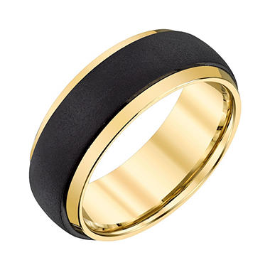 Men's 8mm Black and Yellow Tungsten Textured Wedding Band
