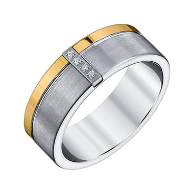 Men's Tungsten Carbon Fiber and Diamond Band