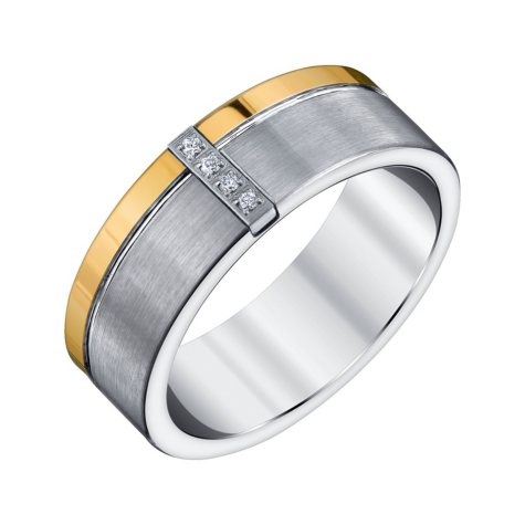 Men's Tungsten Carbon Fiber and Diamond Band
