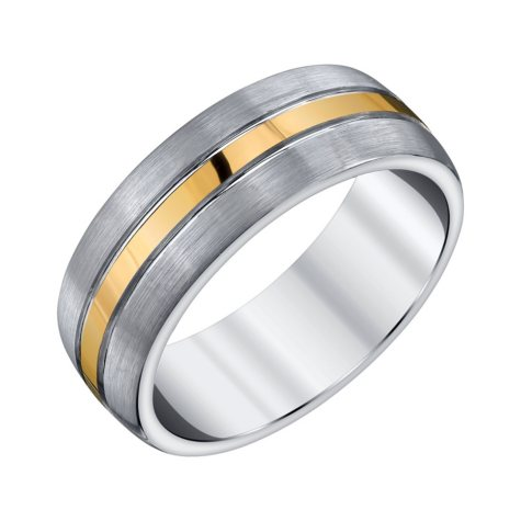 Men's Grey and Yellow Accent Tungsten Band