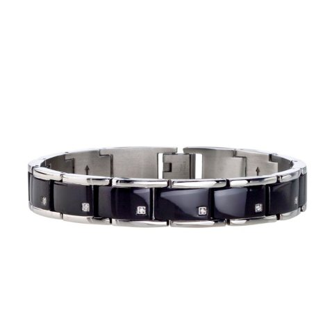 Men's Diamond Accent Bracelet in Stainless Steel