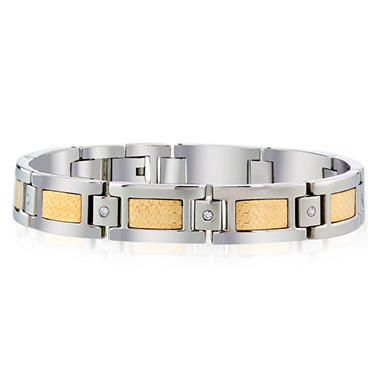 Men's Diamond Bracelet in Stainless Steel with 18k Yellow Gold Accent