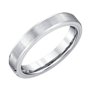 Men's 4mm White Tungsten Wedding Band