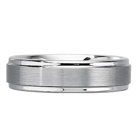 Men's 6mm White Tungsten Wedding Band