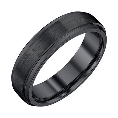 Men S 6mm Black Tungsten Wedding Band