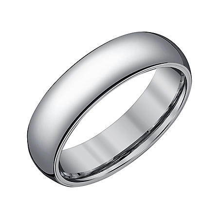 Men's 6mm Half-Round Grey Tungsten Wedding Band