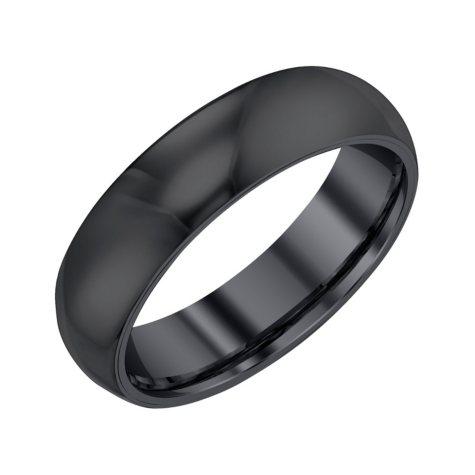 Men's 6mm Half Round Black Tungsten Band