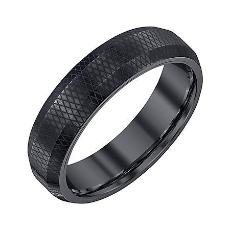 Men's 6mm Black Tungsten Band with Pattern