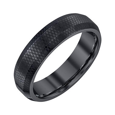 Men's 6mm Black Tungsten Band with Pattern