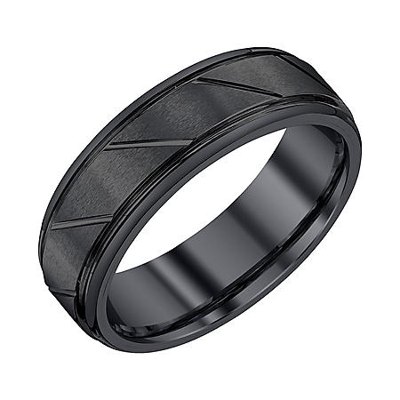 Men's 7mm Black Tungsten Wedding Band