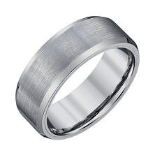 Men's 8mm Tungsten Wedding Band with Satin Finish