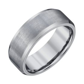 Men S 8mm Tungsten Wedding Band With Satin Finish