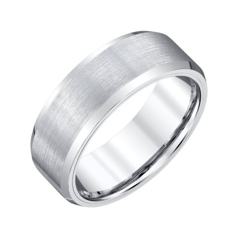 Men's 8mm White Tungsten Wedding Band with Satin Finish
