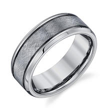 Men's 8mm Tungsten Textured Wedding Band