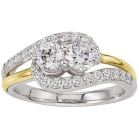 0.96 CT. T.W. Eternally Us 2-Stone Diamond Ring in 14K Two-Tone Gold