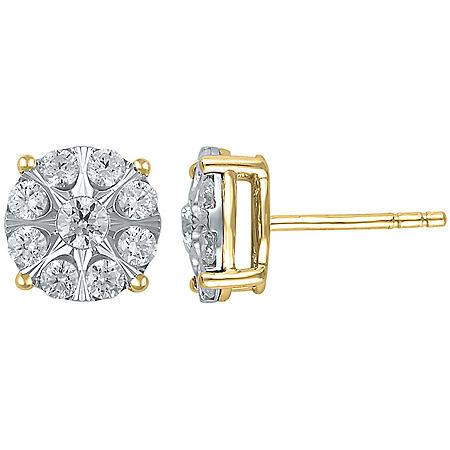 0.72 CT. T.W. Diamond Earrings in 14K Yellow Gold