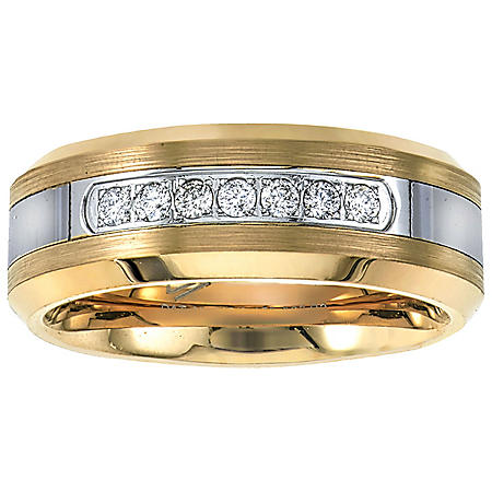 Men's Yellow Tungsten Carbide Diamond Wedding Band 0.20 CT. T.W.