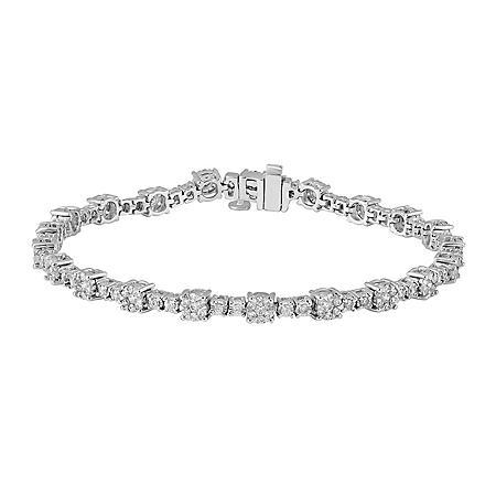 1.96 CT. T.W. Diamond Tennis Bracelet in 14K White Gold