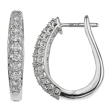 0.71 CT. T.W. Diamond Hoops in 14K White Gold