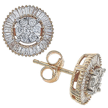 0.46 CT. T.W. Diamond Round/Baguette Earrings in 14K Gold